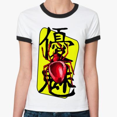 Женская футболка Ringer-T паук и иероглиф