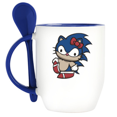 Кружка с ложкой Kitty Sonic