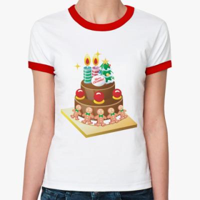 Женская футболка Ringer-T Рождественский торт