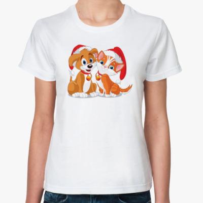 Классическая футболка Собачка и кошка