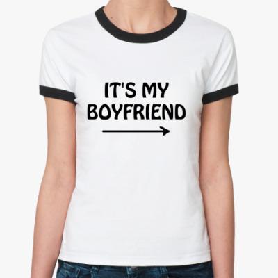 Женская футболка Ringer-T It's my boyfriend