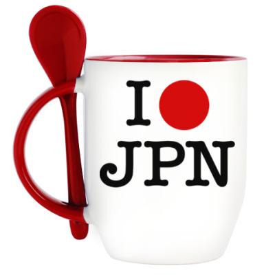 Кружка с ложкой I love Japan