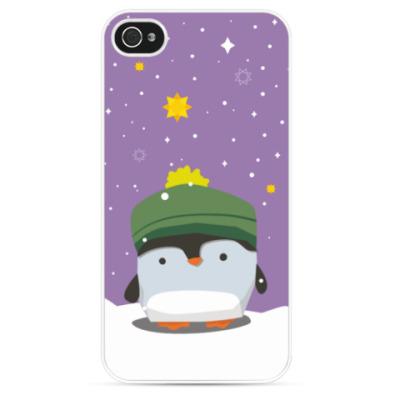 Чехол для iPhone Пингвин в шапке