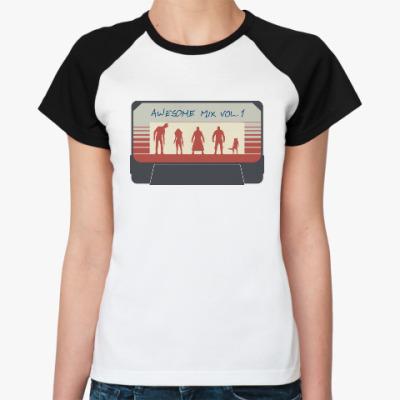 Женская футболка реглан Стражи галактики - кассета