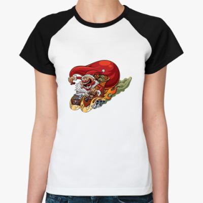 Женская футболка реглан Crazy Santa