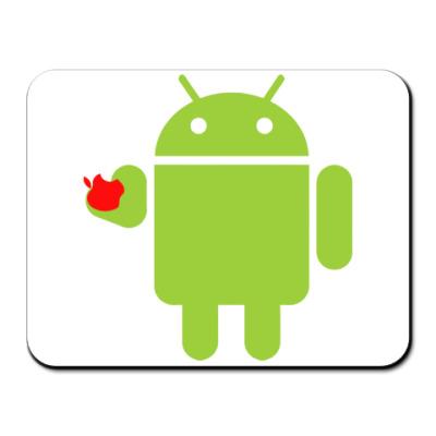 Коврик для мыши Андроид с яблоком