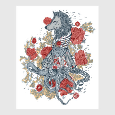 Постер Волк-девушка-осьминог