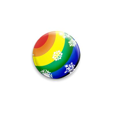 Значок 25мм новогодний шар