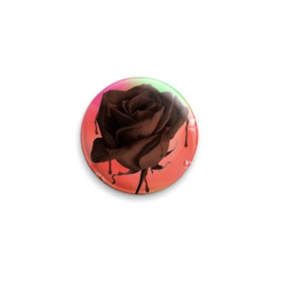 Значок 25мм шоколадная роза