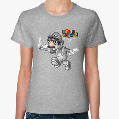 Женская футболка Марио - жизнь игра