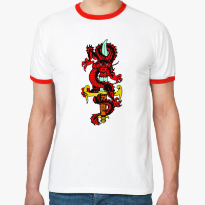Футболка Ringer-T Дракон и меч