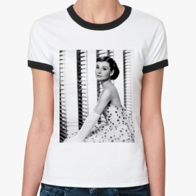 Женская футболка Ringer-T Одри Хепберн