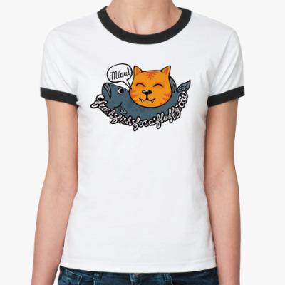 Женская футболка Ringer-T кот и рыба
