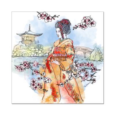 Наклейка (стикер) Япония - сакура