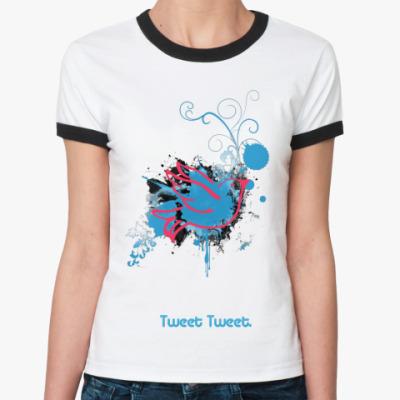 Женская футболка Ringer-T Tweet  Ж (бел/чёрн)