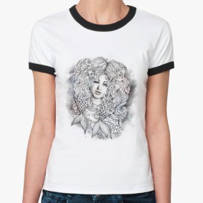 Женская футболка Ringer-T 'РЫБЫ'
