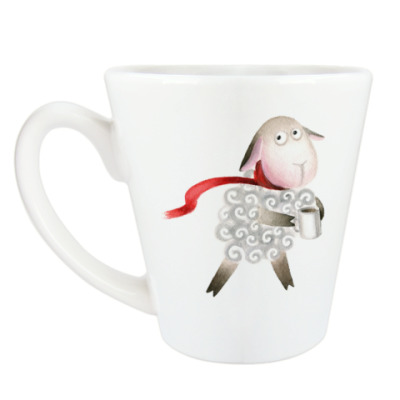 Чашка Латте Овечка в шарфе
