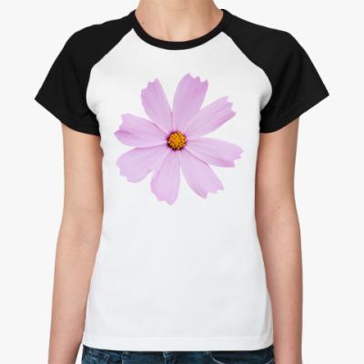 Женская футболка реглан Цветок космеи
