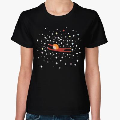 Женская футболка Малыш и космос