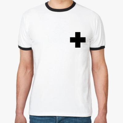 Футболка Ringer-T  «Черный Крест»