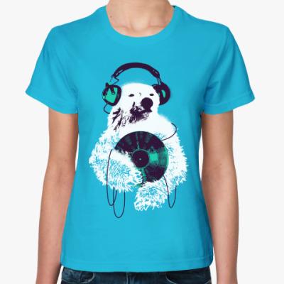Женская футболка Медведь диджей