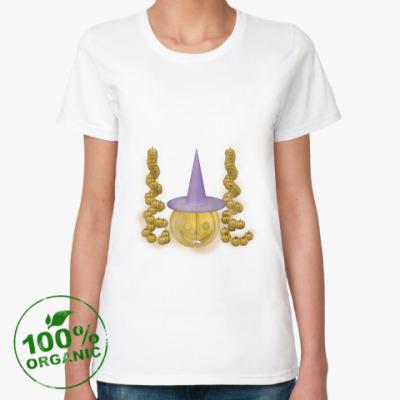 Женская футболка из органик-хлопка Тыква в шляпе