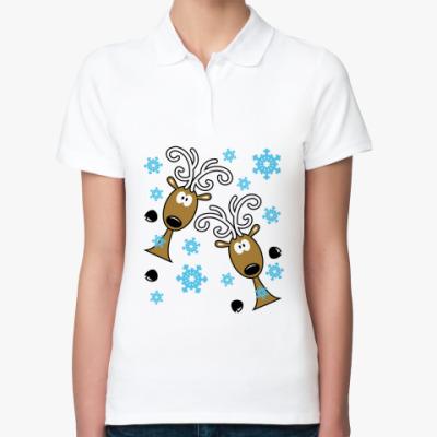 Женская рубашка поло Удивлённые олени