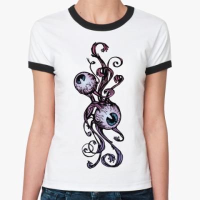 Женская футболка Ringer-T   Глазки