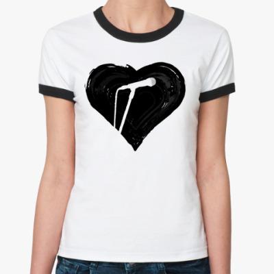 Женская футболка Ringer-T  музыка в сердце