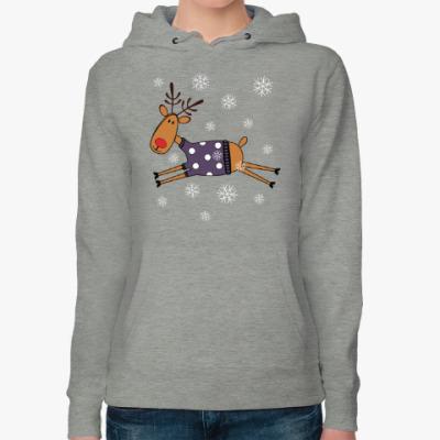 Женская толстовка худи Новогодний олень в свитере