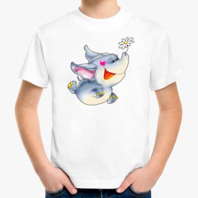 Детская футболка СЛОНЁНОК С РОМАШКОЙ