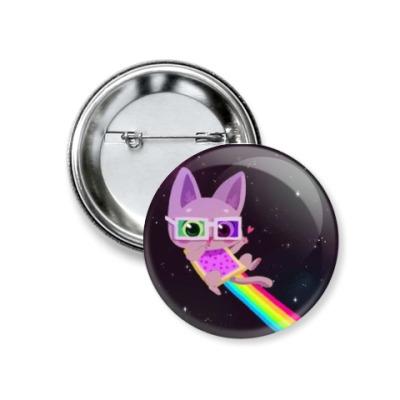 """Значок 37мм  """"Nyan Cat в очках"""""""