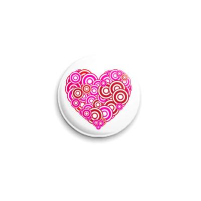 Значок 25мм Сердце-круги