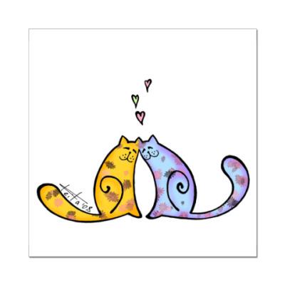 Наклейка (стикер)  Влюблённые коты