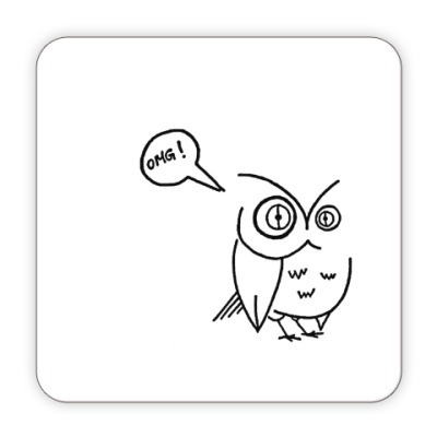 Костер (подставка под кружку) сова OMGowl