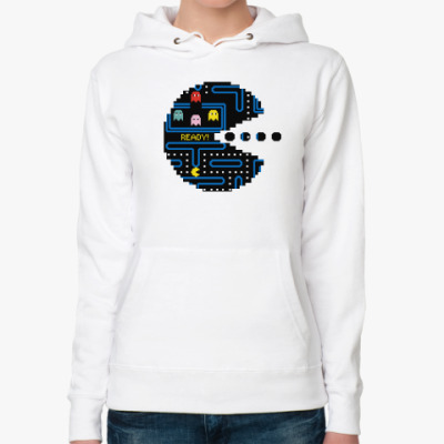 Женская толстовка худи Pac-Man. PacMan. ПакМан. ПакМен. Pixels. Ready!