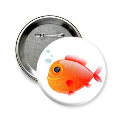 Значок 58мм Довольная рыба