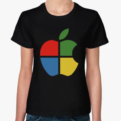 Женская футболка Яблоко Виндоус