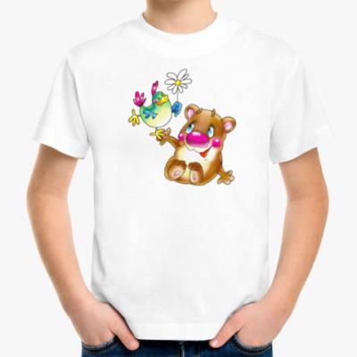 Детская футболка МЕДВЕДЬ С ПТИЦЕЙ