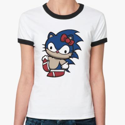Женская футболка Ringer-T Kitty Sonic