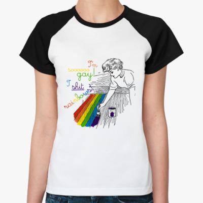 Женская футболка реглан  Shit rainbows