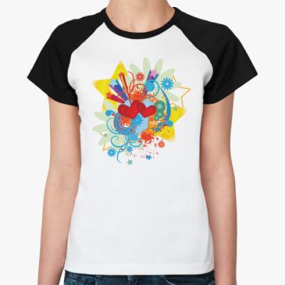 Женская футболка реглан  Сердца