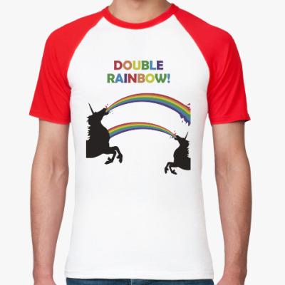 Футболка реглан Двойная радуга