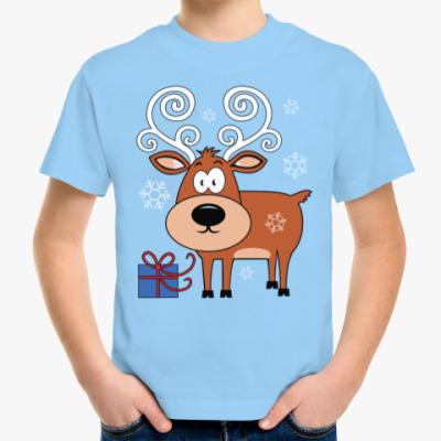 Детская футболка Олень с подарком