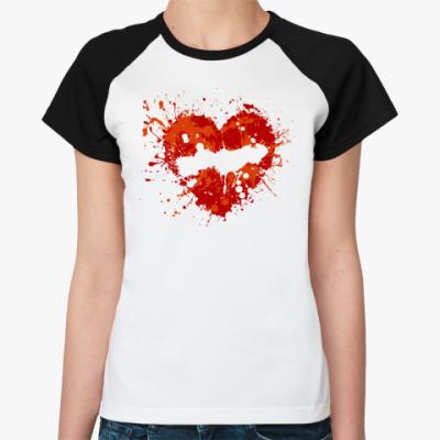 Женская футболка реглан  сердце