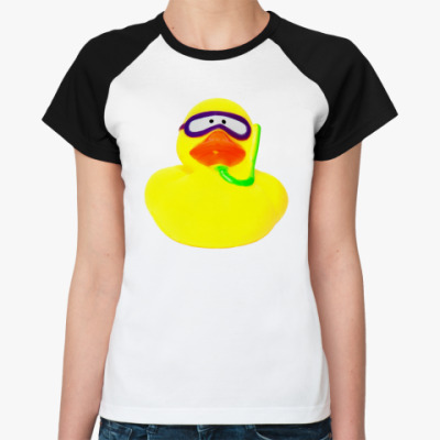 Женская футболка реглан Просто утка (в маске)