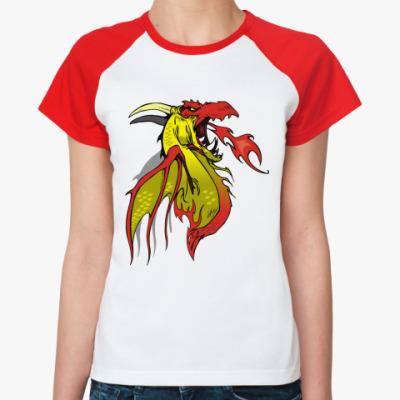 Женская футболка реглан Дракон
