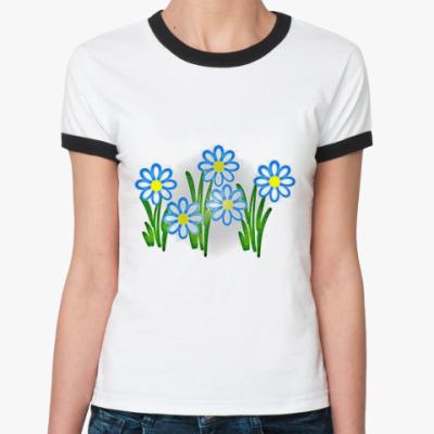 Женская футболка Ringer-T Ромашки