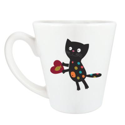 Чашка Латте Кот с сердцем