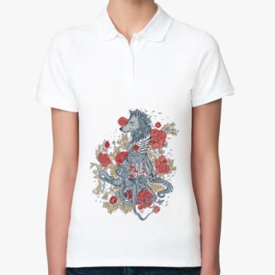 Женская рубашка поло Волк-девушка-осьминог